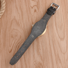 Casual Black Leather Wooden Wristwatches