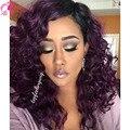 Llena Del Cordón Del Pelo brasileño de la Virgen Del Pelo Humano de Las Pelucas # 1B/Purple Curly pelucas delanteras del cordón del pelo humano de la armadura queen hair productos rizado peluca