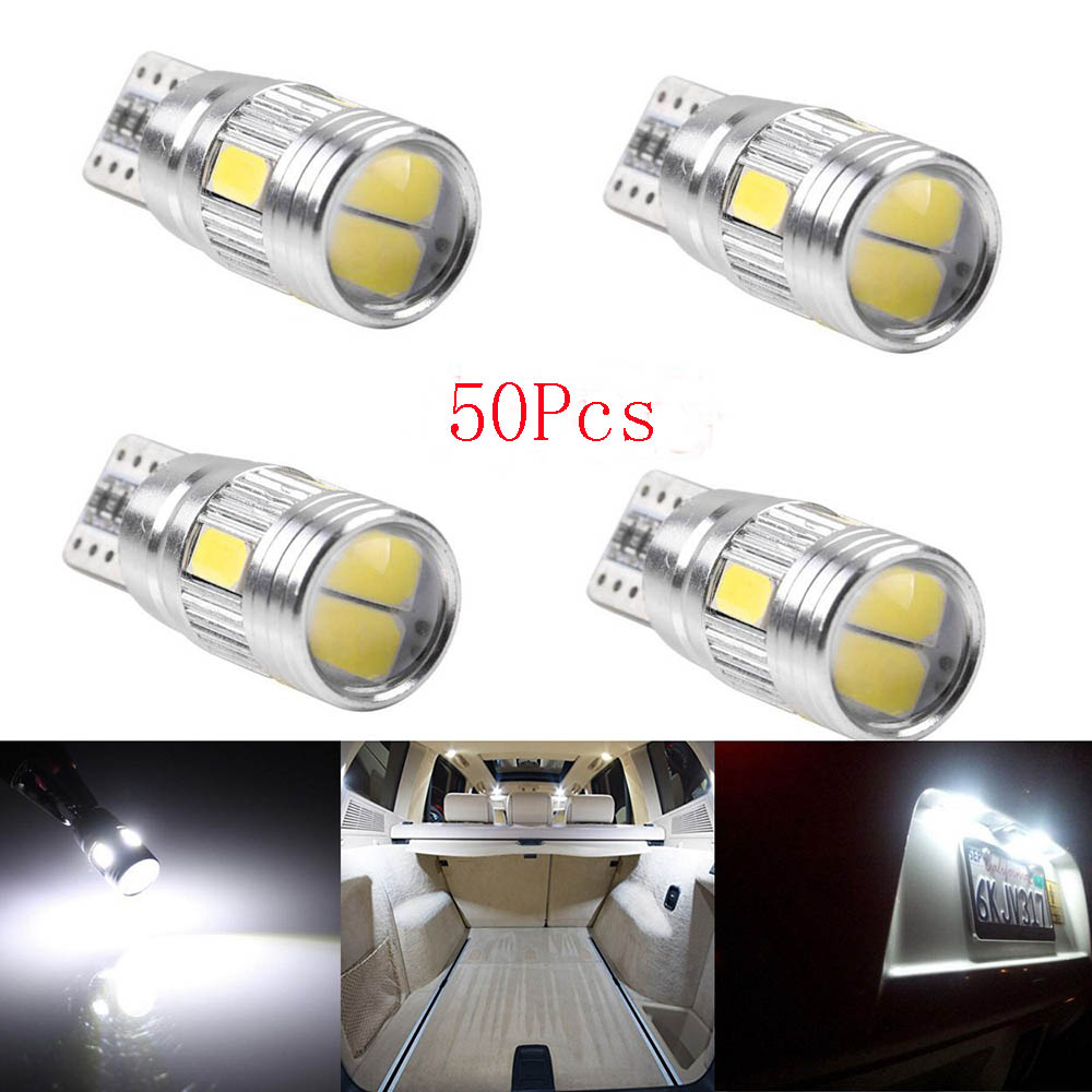 YSY 50X Can バスエラーフリー T10 6 SMD 5630 5730 白色 Led レンズ W5W 194 168 2825 自動車 T10 LED 電球交換部品  グループ上の 自動車 &バイク からの 信号ランプ の中 1