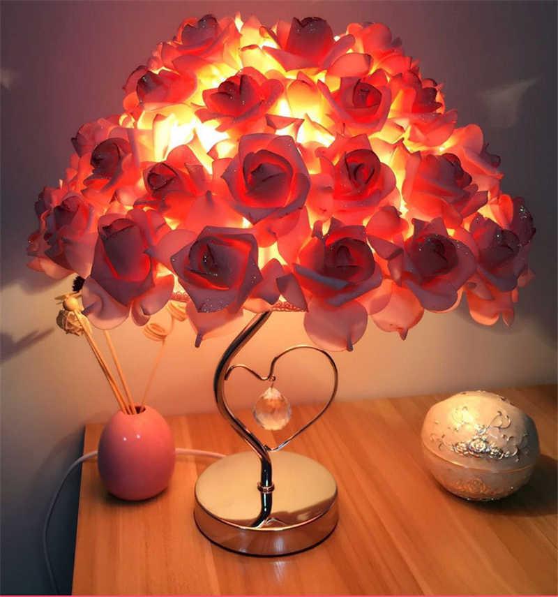 크리스탈 장미 꽃 테이블 램프 led 밤 빛 머리맡 램프 홈 웨딩 파티 장식 장식 조명 실내 홈 deskl 램프