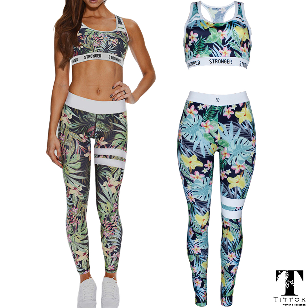 2017 summer leaf tree STRONGER printed skinny sportswear rompers womens jumpsuit bodysuit playsuit overalls
