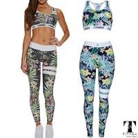 2017 Summer Leaf Tree STRONGER Printed Skinny Yoga Sportswear Rompers Womens Jumpsuit Bodysuit Playsuit Overalls