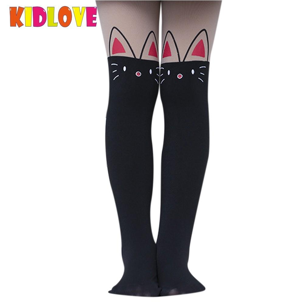 KIDLOVE Girls Fake High Nylon Pantyhose Stretchy Matching Colors Leggings Cute Cartoon Cat Bunny Bear Printing Stockings