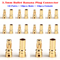10 Pairs Медь Золото Тон 3.5 мм Банан Пуля Коннектор Мужчина + Женщина для RC Двигателя ESC Батарея часть