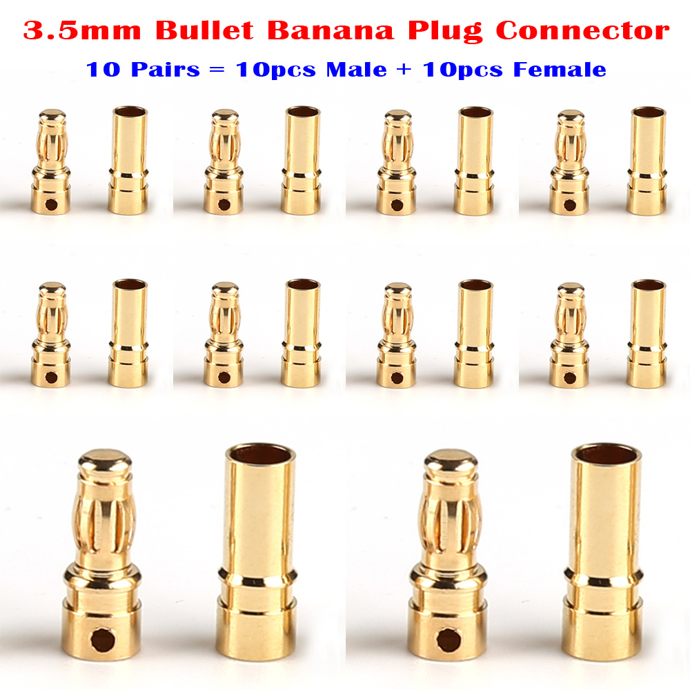 10 Pairs Copper Gold Tone Stock 3.5mm Banana Bullet Plug Connector Male + Female for RC Motor ESC Battery Part 10 pairs female male xt90 banana bullet connector plug for rc lipo battery b