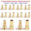 10 Pares de Cobre Dorado de Stock 3.5mm Bullet Plátano Enchufe Conector Macho y Hembra para la Batería de RC ESC Motor parte