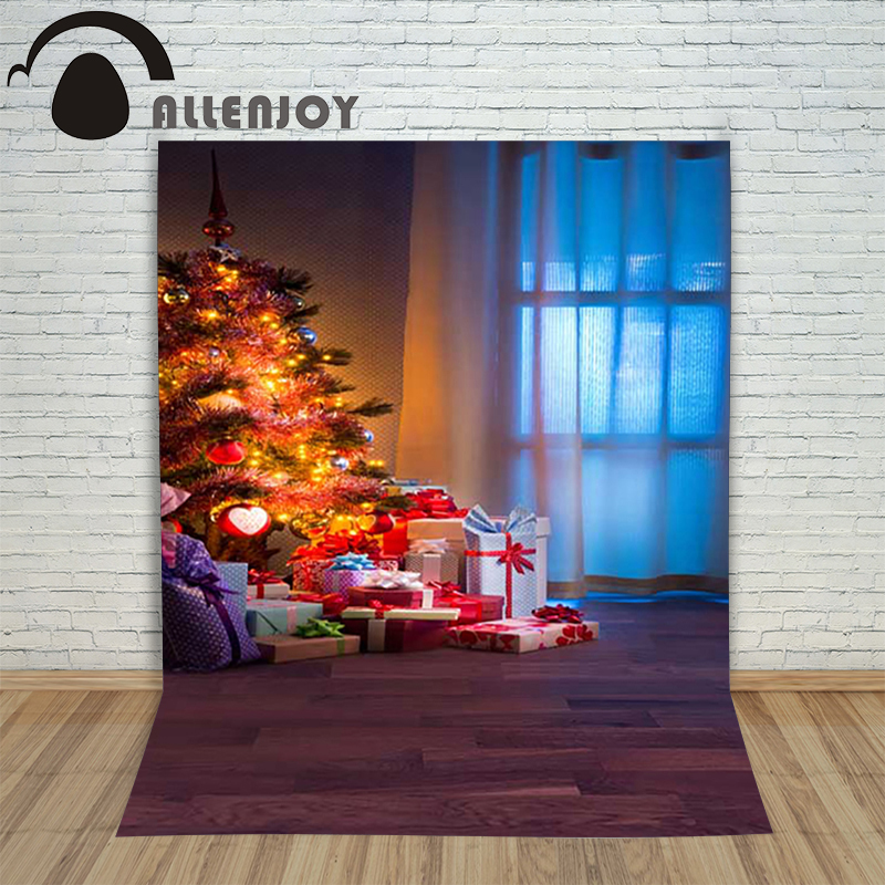 Christmas children's photo background Wood xmas tree lantern present backdrop photography vinyl studio new year lovely