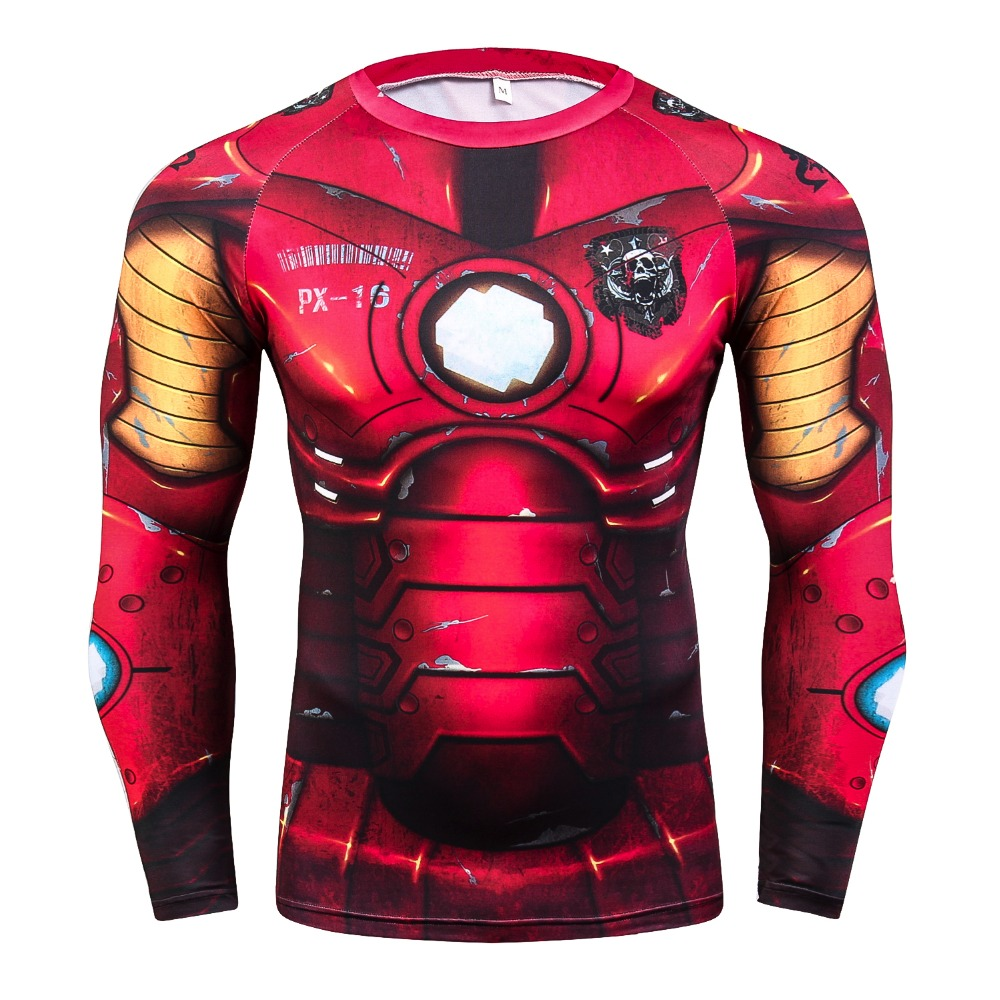 Marvel Comics Ironman Cosplay Costume Men T-Shirt Exercise Fitness Clothing 3D Printed Compression Funny T Shirt Men Tops & Tees