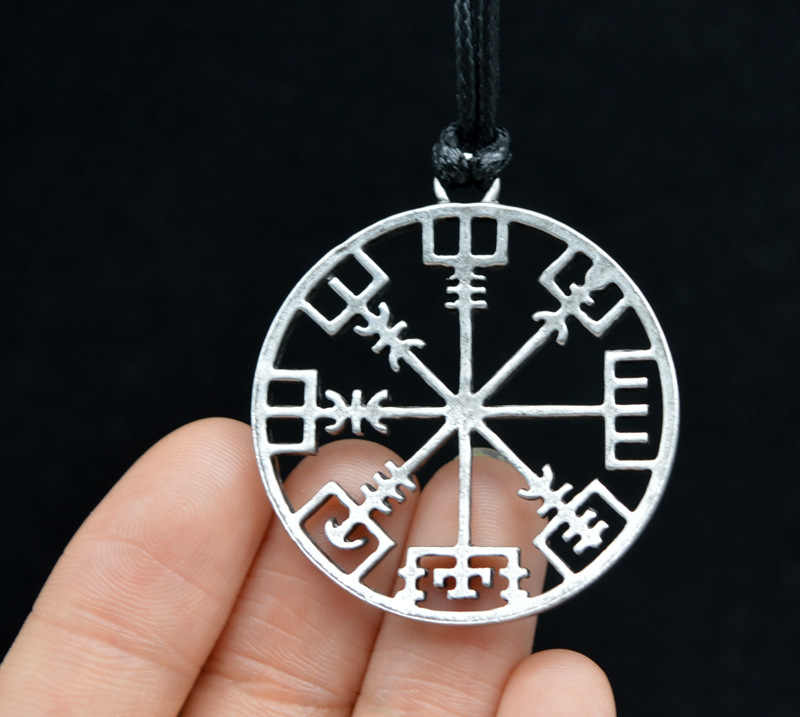 Retro Norse Viking Symbol Of Norse Runic Pendant Necklace Rope Chain Runes Vegvisir Compass For Women Men Amulet Norway Jewelry