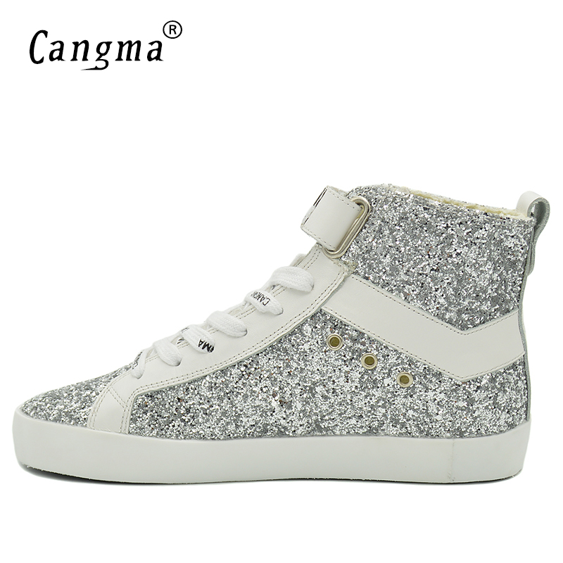 CANGMA Original Luxury Ankle Boots Sequin Casual Shoes Genuine Leather  Sneakers Womens Silver Glitter Shoes Woman Boots Female-in Ankle Boots from  Shoes on ... ce9c3df0576c