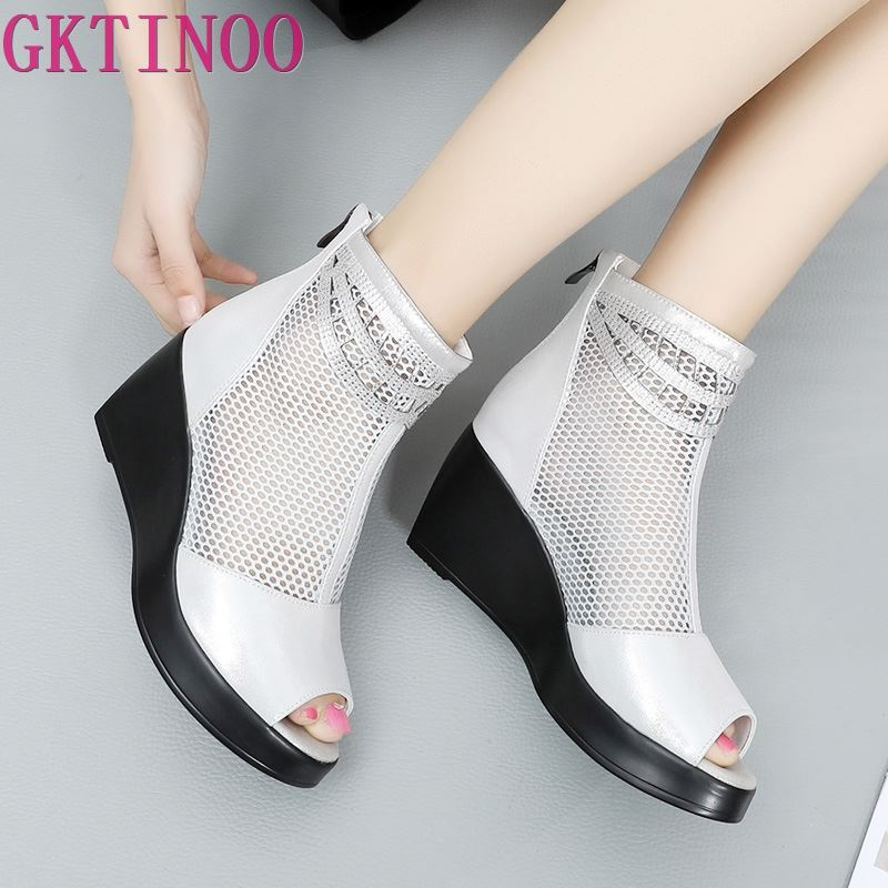GKTINOO 2019 Summer Women Sandals Platform Wedges Sandals Breathable Mesh Genuine Leather Sandals Cool Boots Fashion