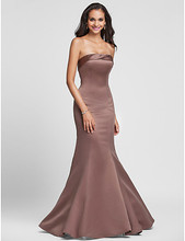 2016 Long Trumpet/Mermaid Strapless Bridesmaid Dresses Ruby / Royal Blue / Brown / Champagne Plus Sizes Wedding Party Dress