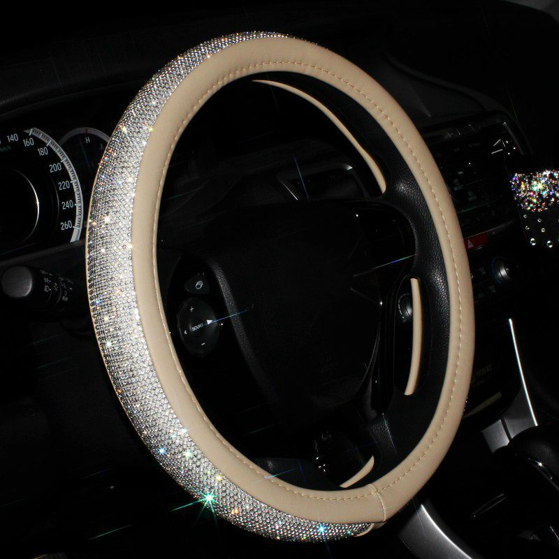 Luxury Crystal Diamond Car Steering Wheel Cover with PU Leather Bling Bling Rhinestone covered Steering-Wheel Covers