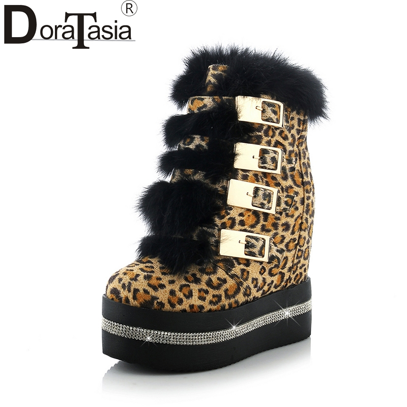 DoraTasia new fur size 33-40 platform ankle boots women shoes fashion height increasing high heels winter shoes woman boots women rabbit fur snow boots platform height increasing wedge lady short boots chunky heels crystal half boots plus size 40 41