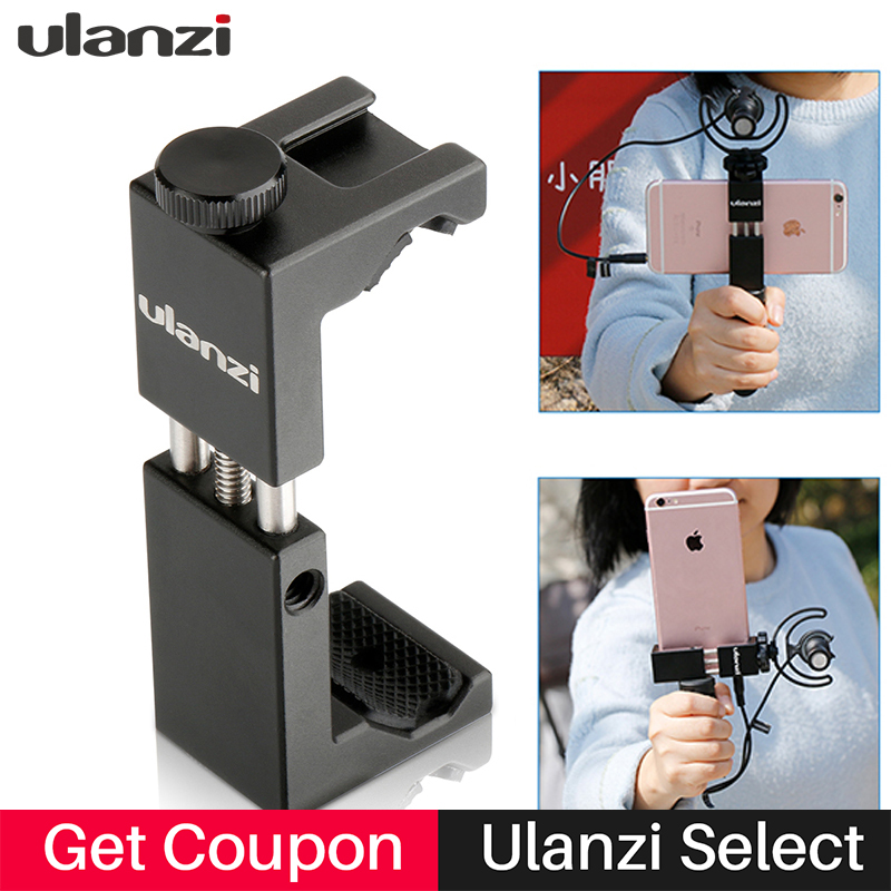 Ulanzi Phone Clip Bracket Holder Mount with cold shoe Tripod Monopod Stand for iPhone Smartphone Selfie holder Universal tripod mount cell phone clipper vertical bracket smartphone clip holder 360 adapter for iphone new arrival