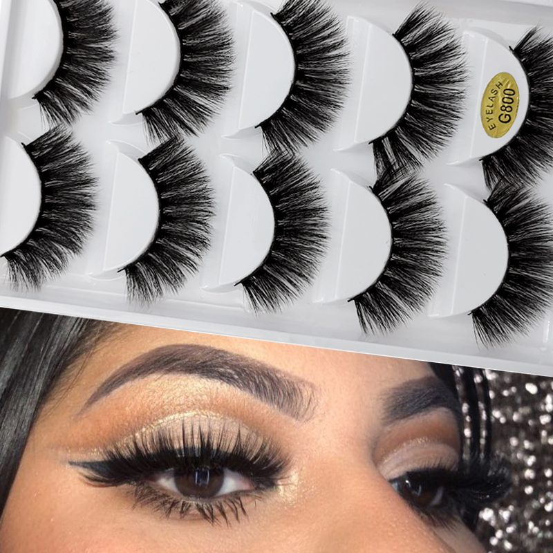5 Pairs Natural False Eyelashes Fake Lashes Long Makeup 3d Mink Lashes Extension Cilio Eyelash Mink Eyelashes For Makeups Beauty