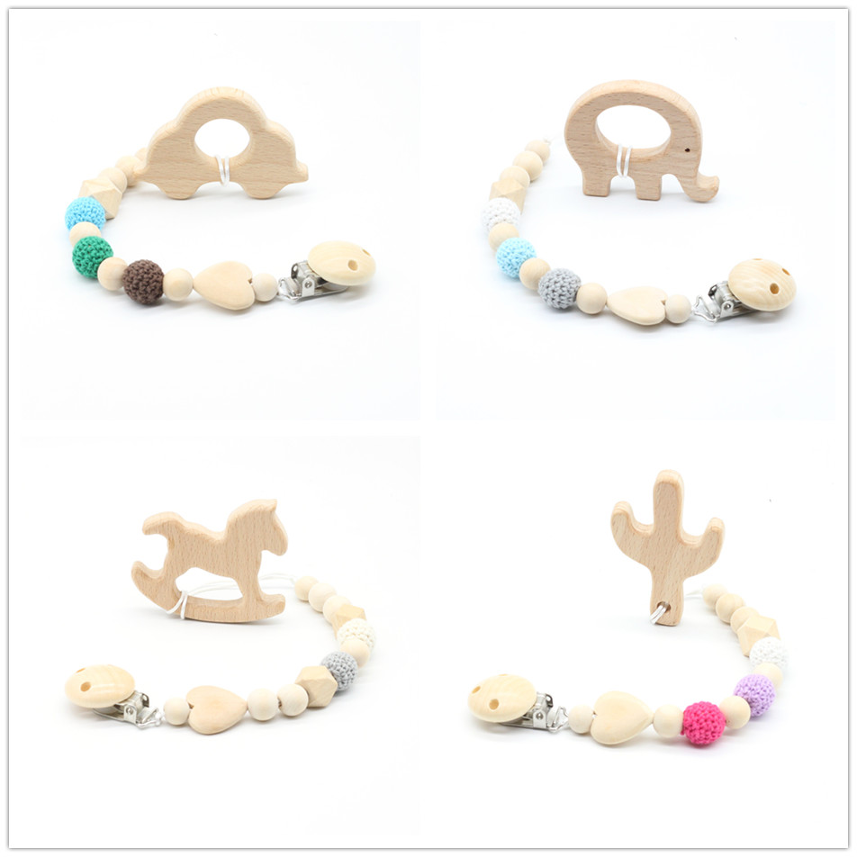 Soother clips Baby dummy Baby pacifier clip  Baby teething toys  wooden beads Cartoon chewable toy baby shower gifts