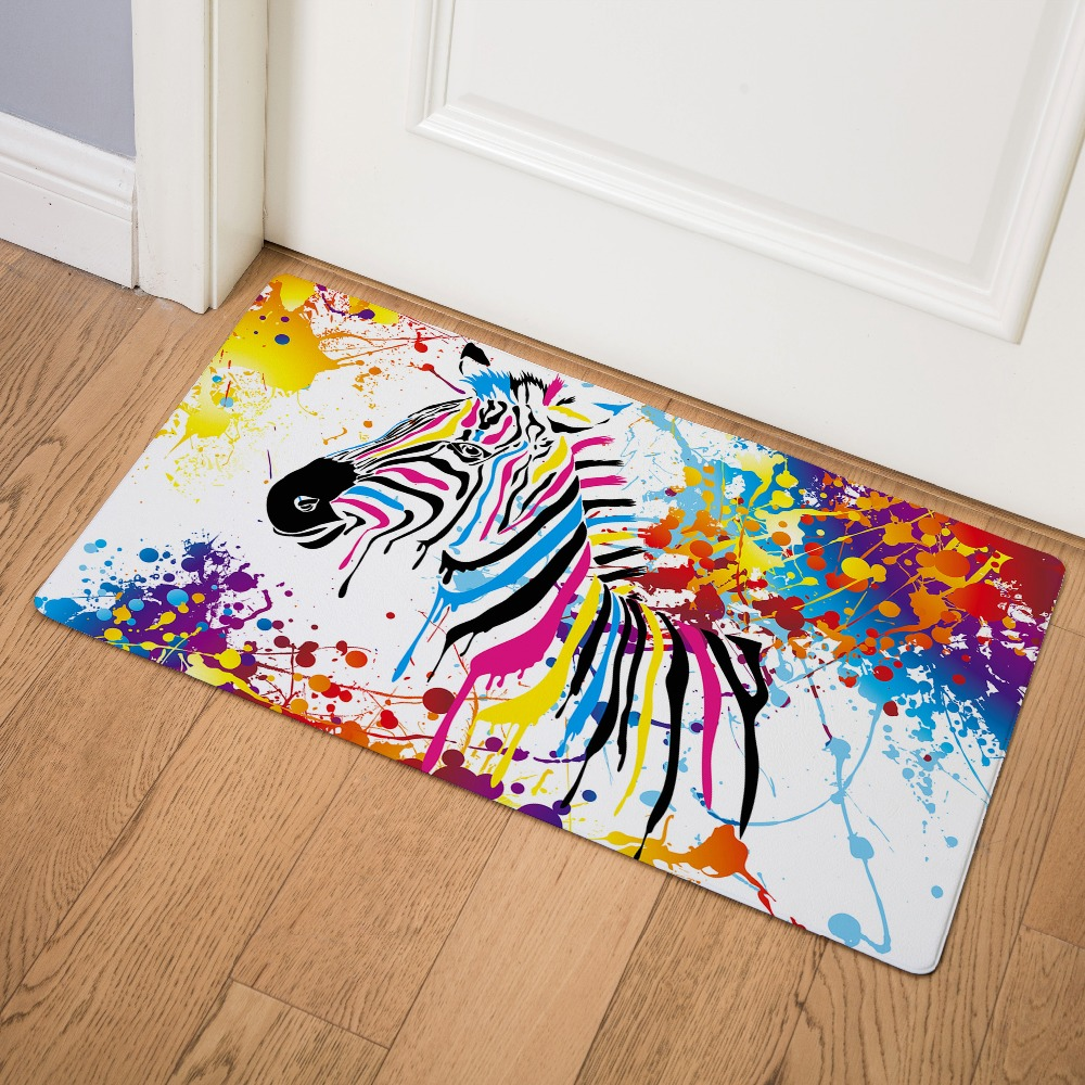 Watercolor Animal African Zebra Print Doormat Kitchen