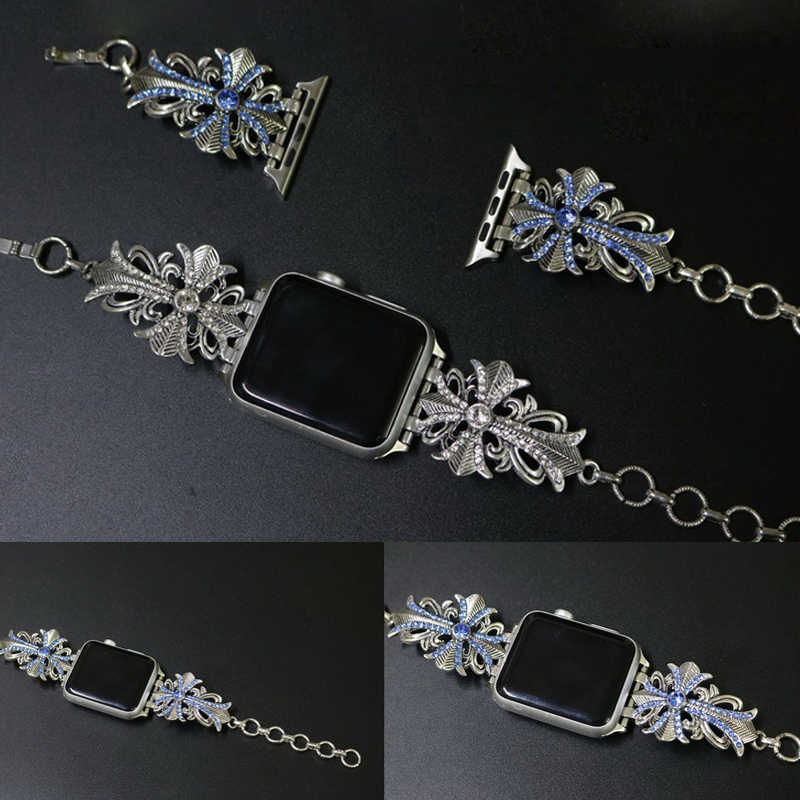 Jewelry Diamond Wrist Watch with Chain Strap for Apple Watch Band Women's Strap for iWatch Seies 1/2/3 42mm 38mm Smart Watch