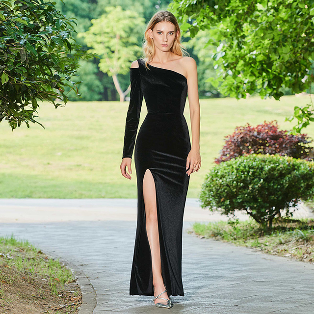 a9cc98fccb67e US $123.41 43% OFF|Tanpell one shoulder evening dress black full sleeves  floor length sheath gown women split front custom formal evening dresses-in  ...