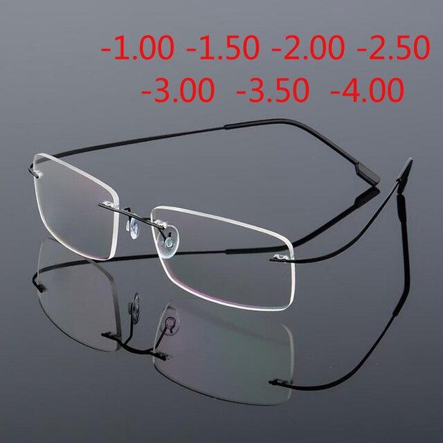 Coating superelastic frameless myopic glasses Eyeglasses Men Women Rimless Super Light Frame Myopia Glasses 100 ~ 400 degrees