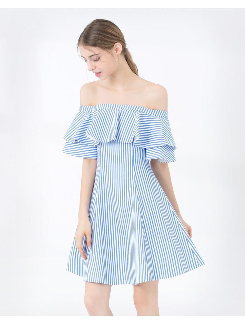 Blue Maxza Femme Rayé Manches Femmes La Striped 2019 Bretelles Courte D'été À White Soirée Volants Slash Mini Ete Cou Nouveauté Robe UZxBqgd