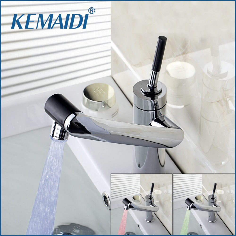 KEMAIDI New Deck Mounted Kitchen Faucet Temperature Sensor Swivel Chrome Sink Basin LED light Torneira Cozinha Tap Mixer Faucet купить