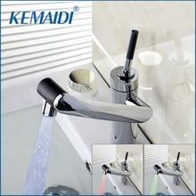 Kemaidi Новый бортике смеситель для кухни Температура Сенсор Поворотный Chrome раковины свет torneira Cozinha смеситель кран