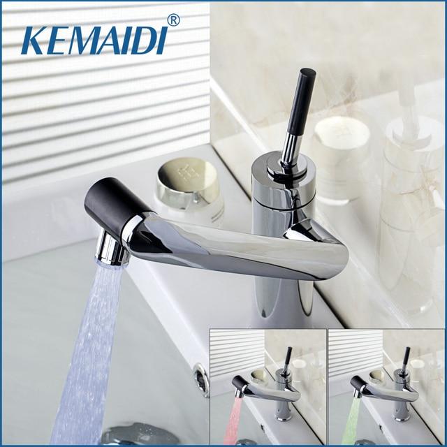 Kemaidi New Deck Mounted Kitchen Faucet Temperature Sensor Swivel Chrome Sink Basin Led Light Torneira Cozinha