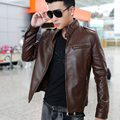 2014 spring autumn winter fashion men PU slim design stand collar short motorcycle male leather jacket outerwear M-XXXL D2397