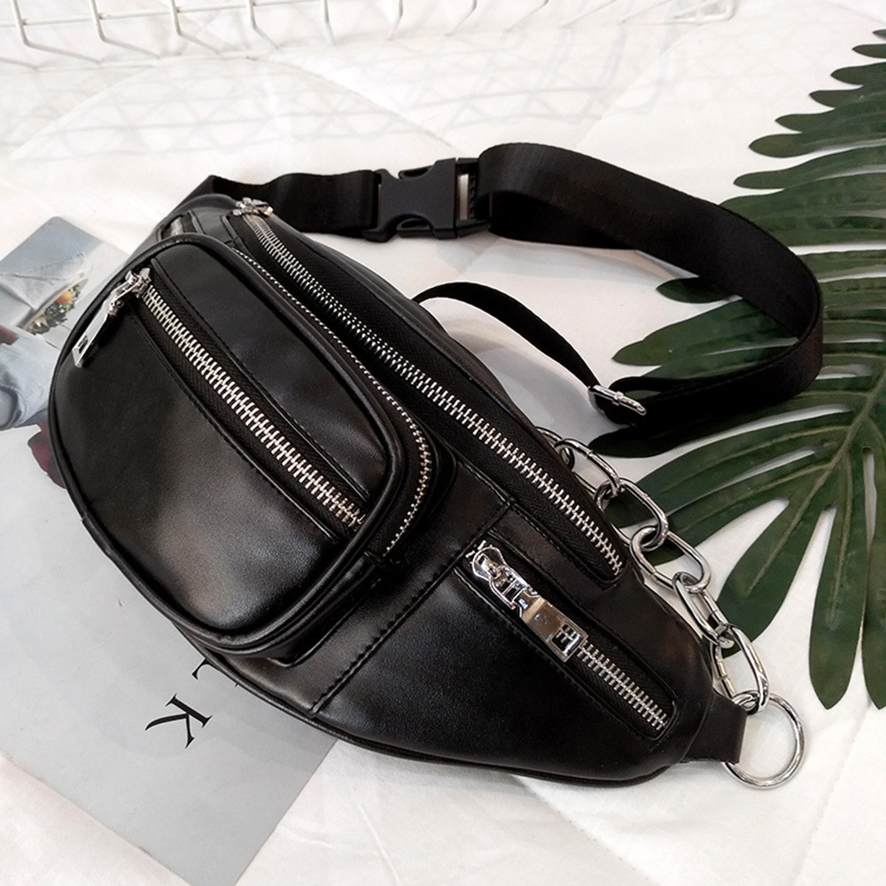Unisex Leather Waist Bag Crossbody Bags With Belt Fashion High-capacity Shoulder Chest Bag Black Chain Decoration Fanny Pack#H15