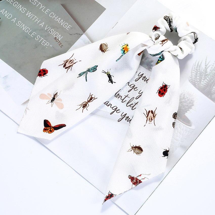 Levao fleur impression cheveux écharpe arc chouchous queue de cheval bandeau pour femmes cheveux accessoires nœud papillon élastique cheveux corde bandeaux 25