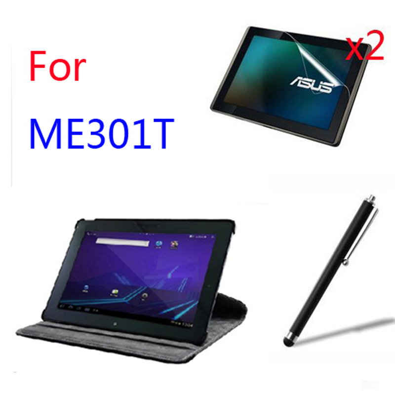 Rotating 360 Degree Luxury Folio Stand Leather Case Cover +2x Screen Protector +1x Stylus For ASUS MeMO Pad Smart 10 ME301T K001 ultra thin smart flip pu leather cover for lenovo tab 2 a10 30 70f x30f x30m 10 1 tablet case screen protector stylus pen