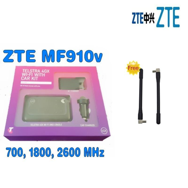 Lot of 2 UNLOCKED Telstra ZTE MF910V Wifi 3G 4G 4GX mobile broadband pocket modem prepaid with Car kit plus 2pcs antenna zte mf910 mf910v 4g lte mobile wifi wireless pocket hotspot router modem unlocked