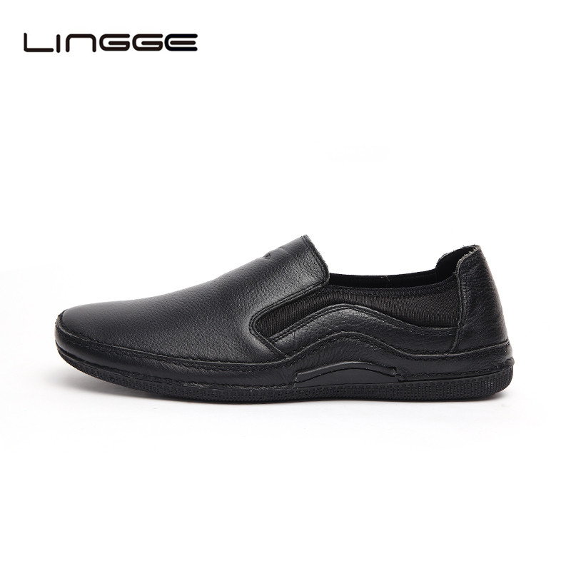 LINGGE Full Grain Leather Shoes For Men BlacK Casual Slip On Men Loafers Fashion Man Design Shoes #5993 branded men s penny loafes casual men s full grain leather emboss crocodile boat shoes slip on breathable moccasin driving shoes