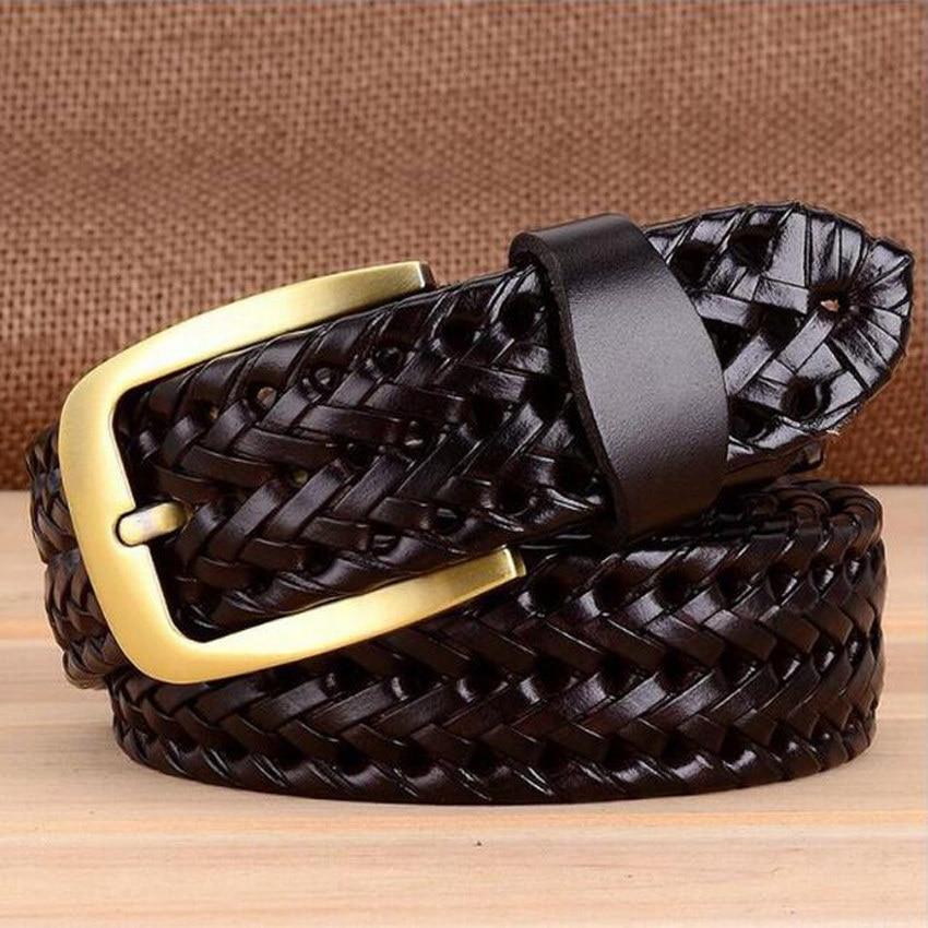 Дизайнерский известный бренд роскошный ручной вязки ремни женские мужские ремни мужской ремень кожаный Сплав Пояс на пряжке - Цвет: coffee