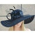 Черная Шляпа От Солнца для Женщин Широкими Полями Вс Шляпа Летние Шляпы для Женщин Женский Цветочные Шляпы A344