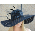 Black Sun Hat for Women Wide Brimmed Sun Hat Summer Hats for Women Female Floral Hats A344