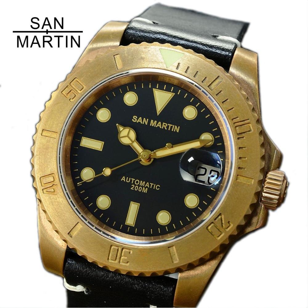 San Martin Men Vintage Bronze Watch Automatic diving Watch 300 Water Resistant Bronze Bezel Retro Wristwatch Relojes Hombre2018 цена