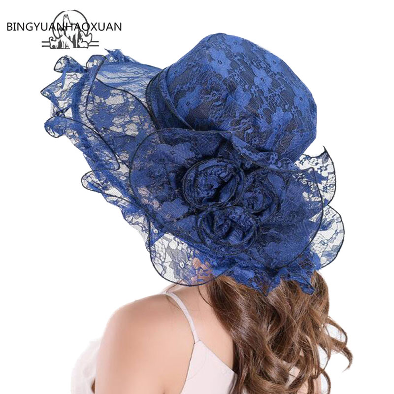 New Summer Women Floppy Sun Hat With Lace Net Yarn Wide Large Brim Lace Caps Fashion Beach UV Protection Hats