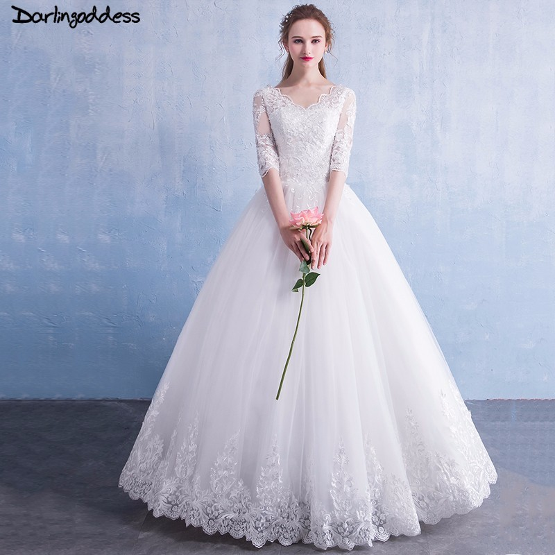 Plus Size Half Sleeve Wedding Dress 2018 A Line V Neck Muslim Wedding Gowns Floor Length Pure White Wedding Dresses Real Photo