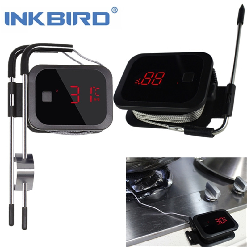 Inkbird Food Cooking Bluetooth Wireless BBQ Digital Cooking Kitchen Meat Thermometer for Grill Oven Smoker Clock Timer Tools inkbird remote wireless home use rf thermometer irf 2s 1000 feet for cooking bbq grill oven smoker with three food grade probes