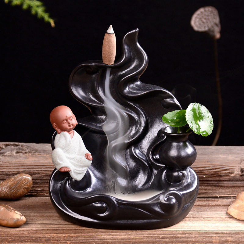 Creative Backflow Incense Burner Ceramic Aromatherapy Waterfall of Smoke House Air Aromatic Incense Cones Sticks Holder Stand in Incense Incense Burners from Home Garden