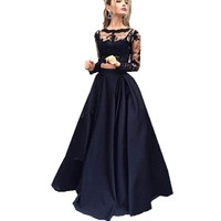 Black Two Pieces Evening Dress 2016 Scoop Long Sleeve Lace Prom Dresses Top Graduation Dresses Long Prom Party Gown Custom made