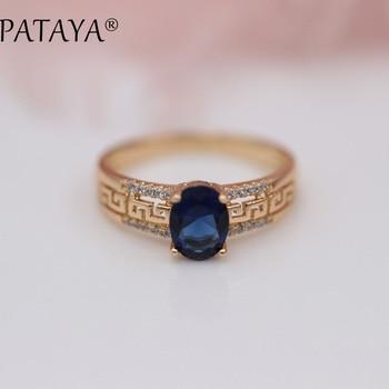 32b20e76372e Nuevas llegadas de PATAYA 585 anillo hueco de oro rosa ovalado azul oscuro  anillos de circón Natural mujeres boda fiesta exquisita joyería tallada