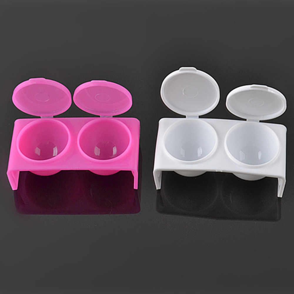 1Pcs Acryl Flüssigkeit Tasse Neue Kunststoff Acryl Pulver Doppel-deckel Gericht Rosa oder Weiß 3D Form Nagel Kunst werkzeuge Waschen Container