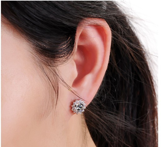 Luxury Quality 2 Carats SONA Simulated Gem Studded Earrings,silver plated color Wedding Jewelry,Sunflower Earrings