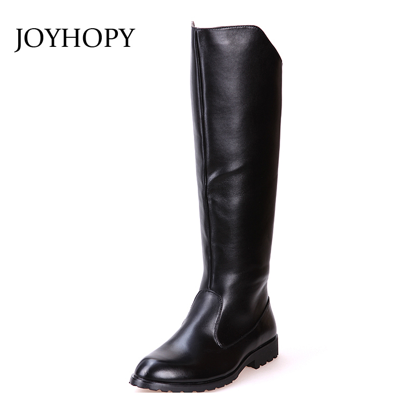 PU Leather Knee-High Boots Mens Ridding Equestrian Boots Men Waterproof Motorcycle Boots Men's Pointed Toe Long Boots AMB2027 image