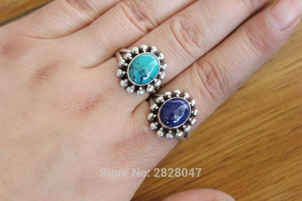 SL009 Ethnic Tibetan 925 Sterling Silver Inlaid Natural Stone Flower Ring Handmade Nepal Girls 925 Silver Ring