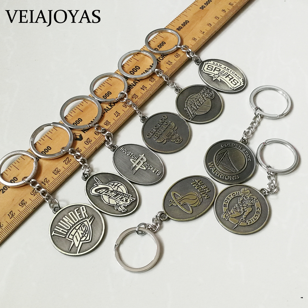 9 Types Hot American Basketball League ClubTeams Logo Alloy Key Rings Car Keychain Bag Pendants For Basketball Lovers Men Gifts